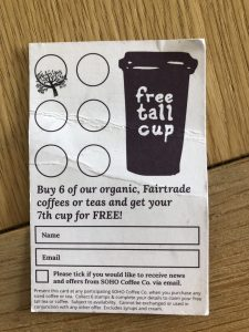 Coffee shop loyalty card example