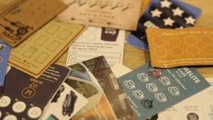 Selection of coffee shop loyalty cards